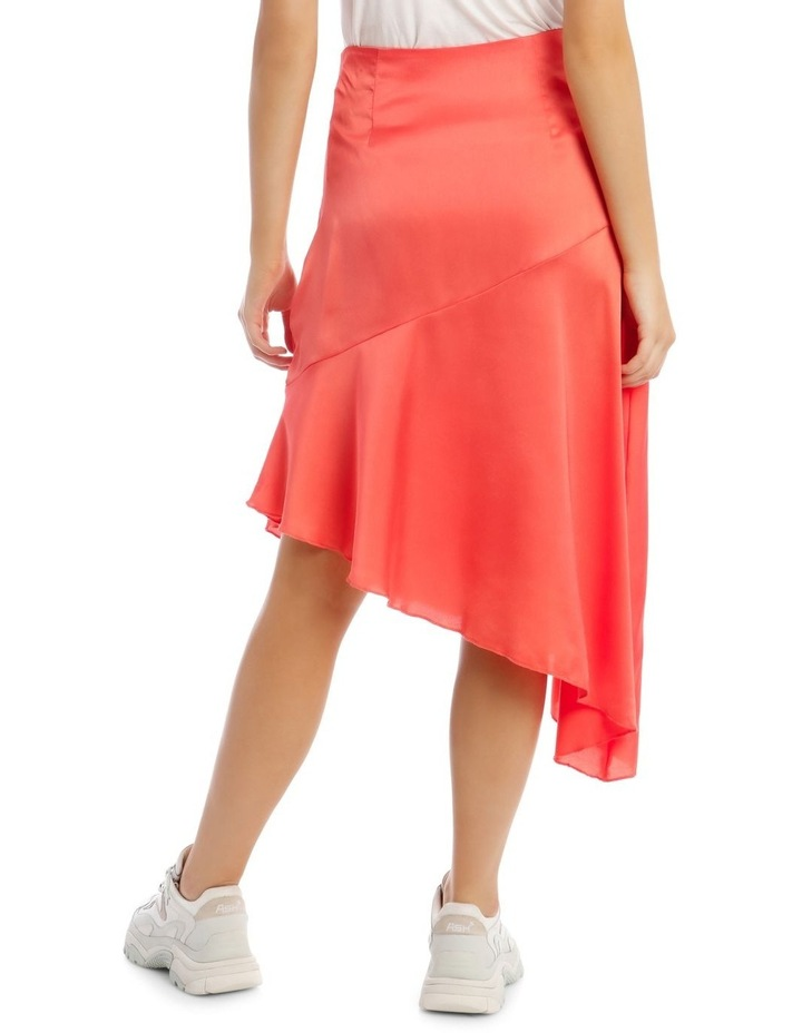 Satin Asymmetric Skirt Coral image 3