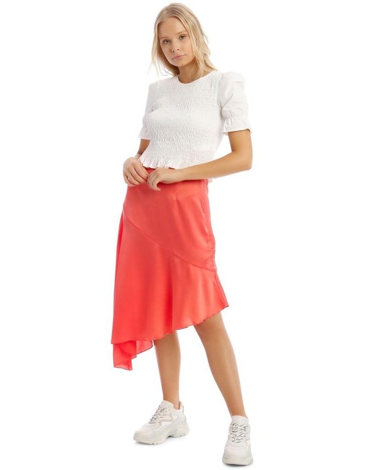 Satin Asymmetric Skirt Coral image 4