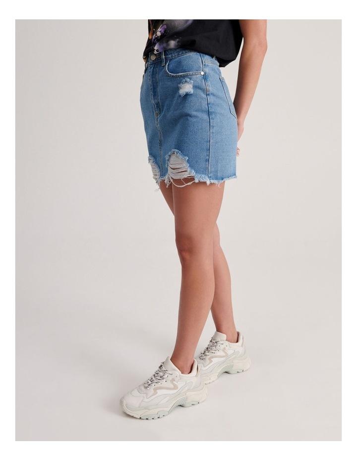Ripped Denim Aline Skirt image 2