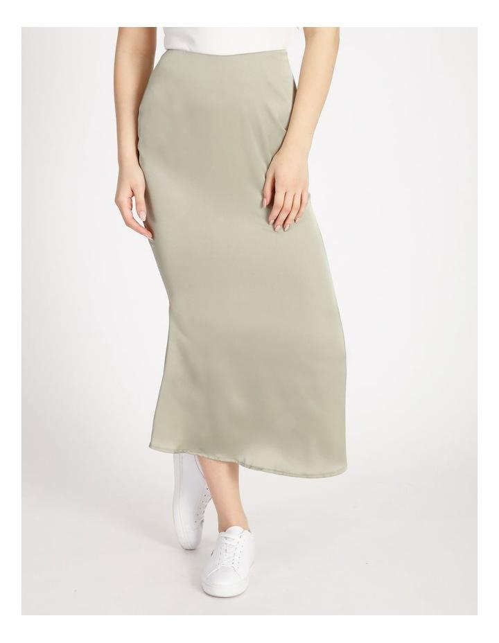 A Line Satin Slip Midi Skirt image 1