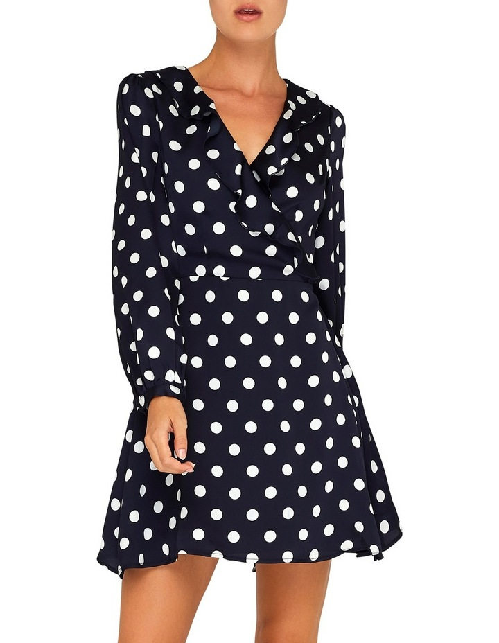 Navy and White Spot Wrap Dress image 1