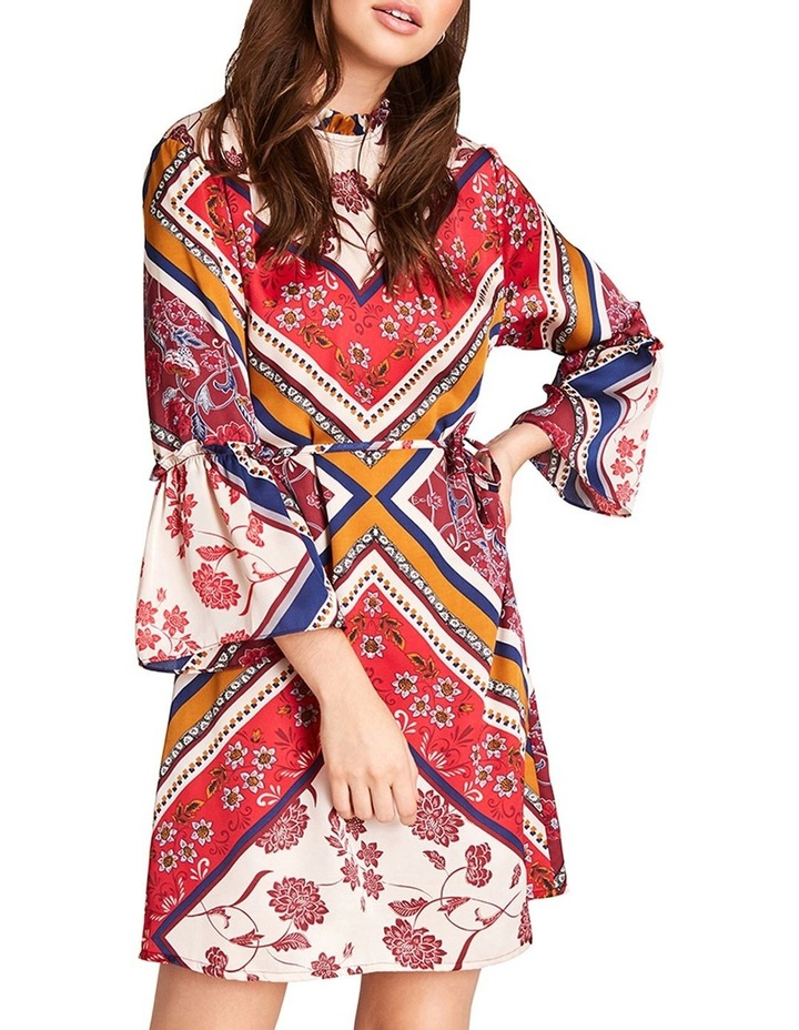 PRINTED HIGH NECK DRESS WITH 3/ 4 FLARE DETAIL SLEEVES image 1