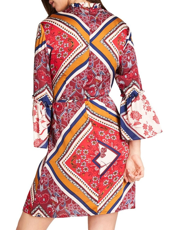 PRINTED HIGH NECK DRESS WITH 3/ 4 FLARE DETAIL SLEEVES image 2