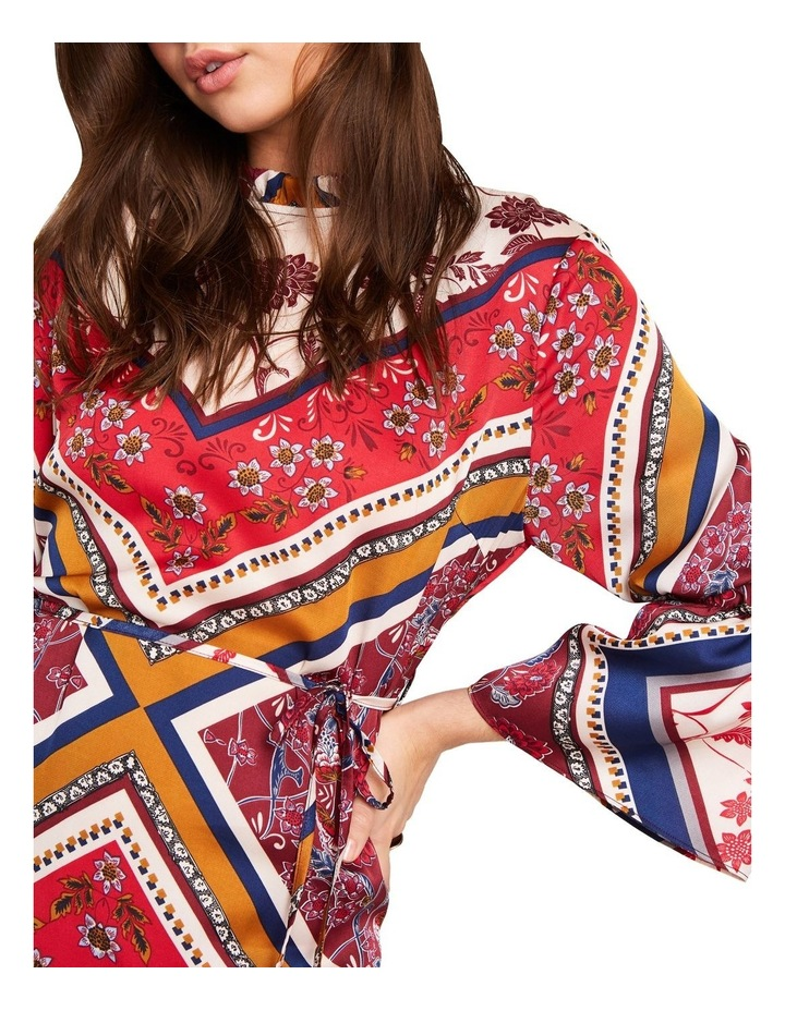 PRINTED HIGH NECK DRESS WITH 3/ 4 FLARE DETAIL SLEEVES image 4