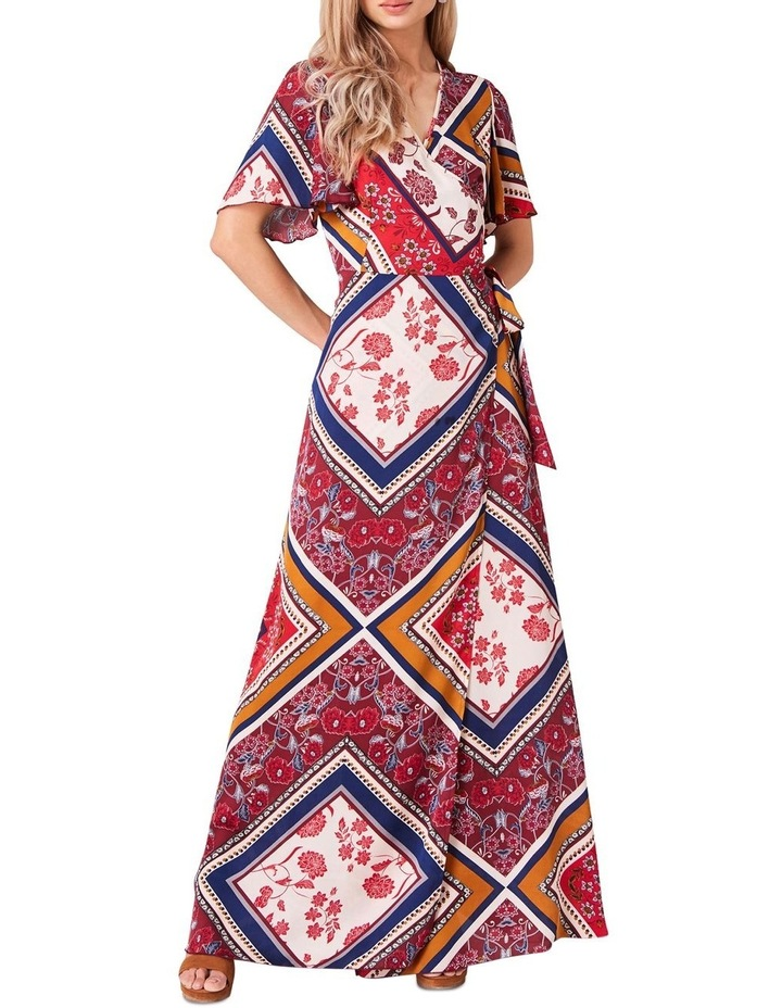 PRINTED MAXI WRAP DRESS image 1
