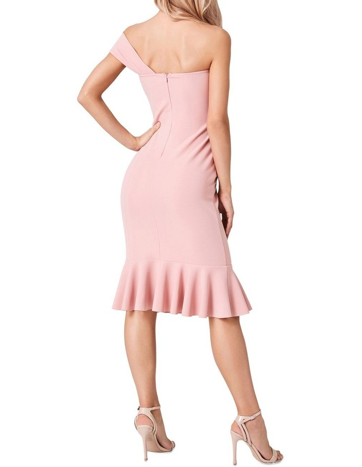 ONE SHOULDER BODYCON DRESS WITH ASYMMETRICAL FRILL HEM image 2