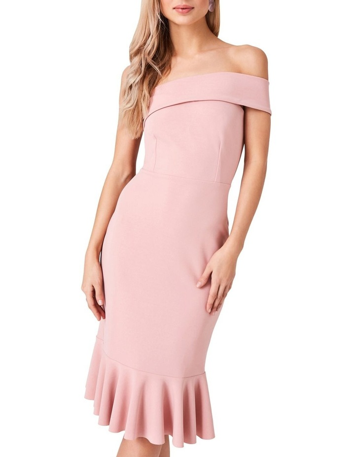 ONE SHOULDER BODYCON DRESS WITH ASYMMETRICAL FRILL HEM image 3