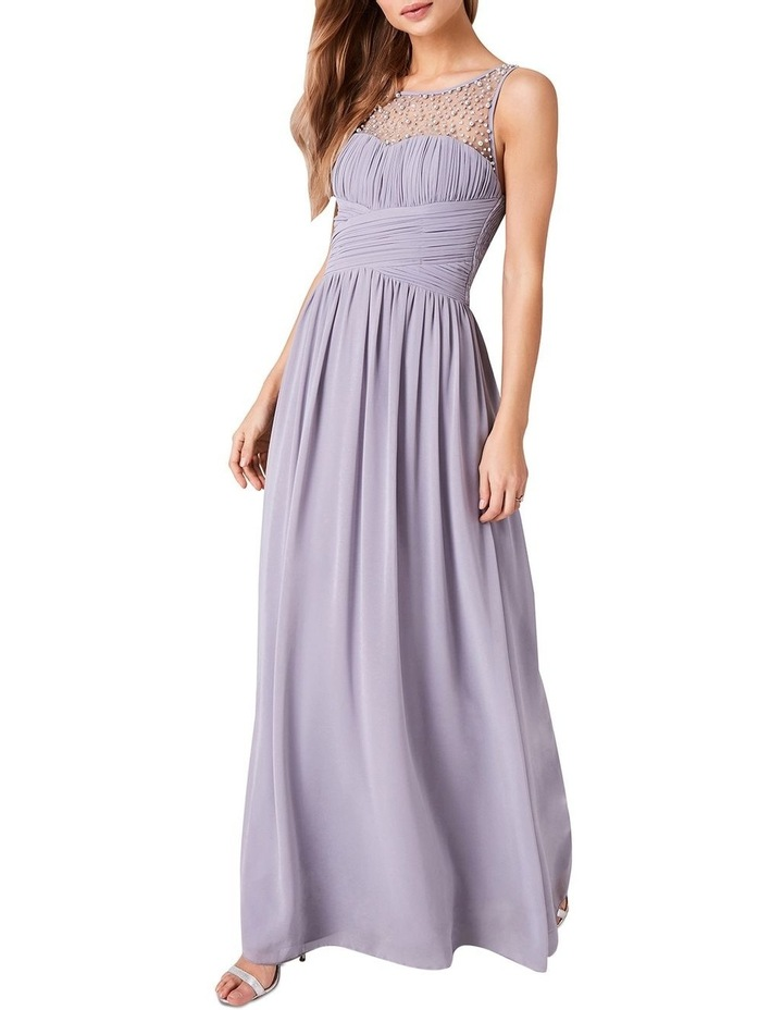 EMBELLISHED WITH PEARLS AT FRONT DETAIL CHIFFON MAXI DRESS image 1