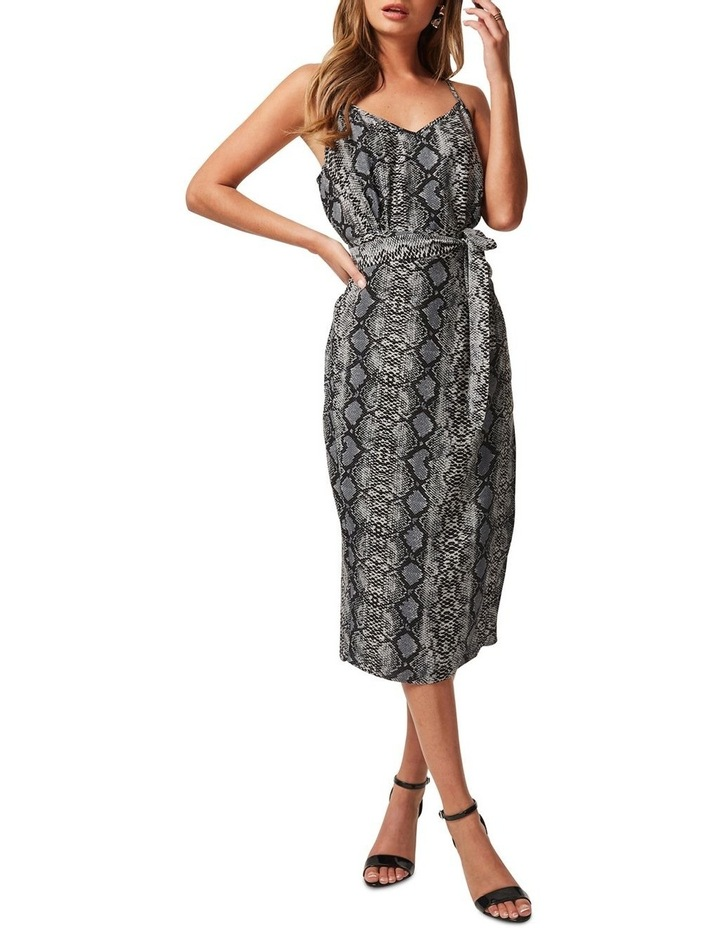 CALF-LENGTH SLIP DRESS WITH TIE-WAIST AND WRAP OVER STYLE SKIRT image 1