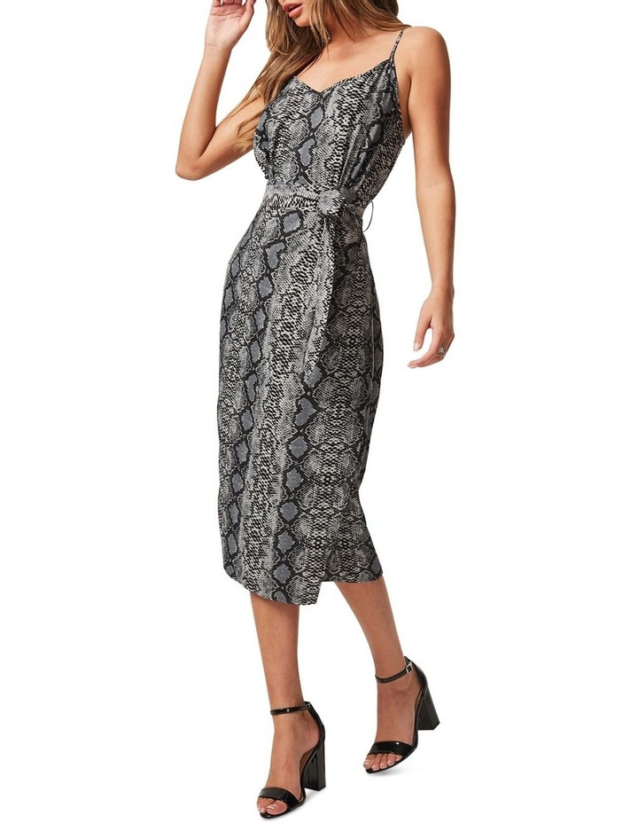 CALF-LENGTH SLIP DRESS WITH TIE-WAIST AND WRAP OVER STYLE SKIRT image 5
