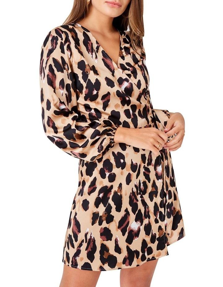 LEOPARD PRINTED LONG SLEEVED WRAP DRESS image 4