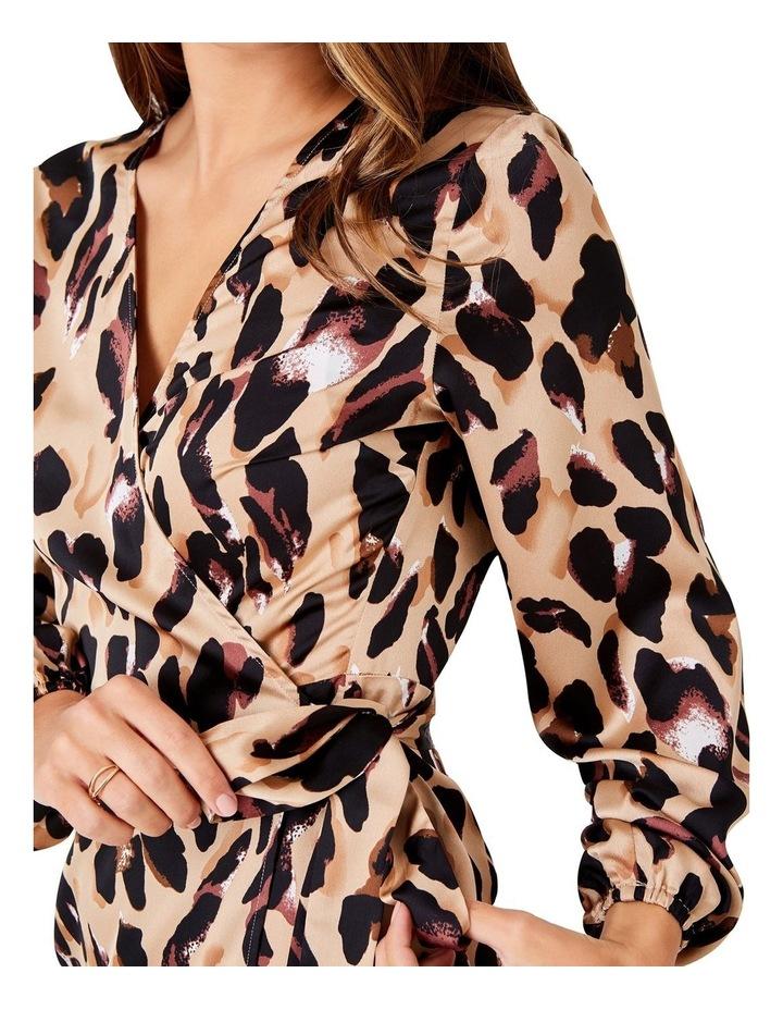 LEOPARD PRINTED LONG SLEEVED WRAP DRESS image 5