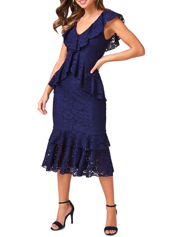 Esther Navy Lace Tiered Midi Dress image 1