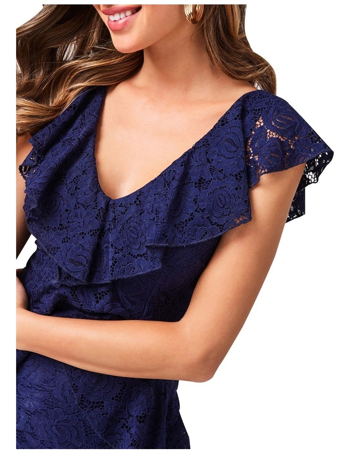 Esther Navy Lace Tiered Midi Dress image 4