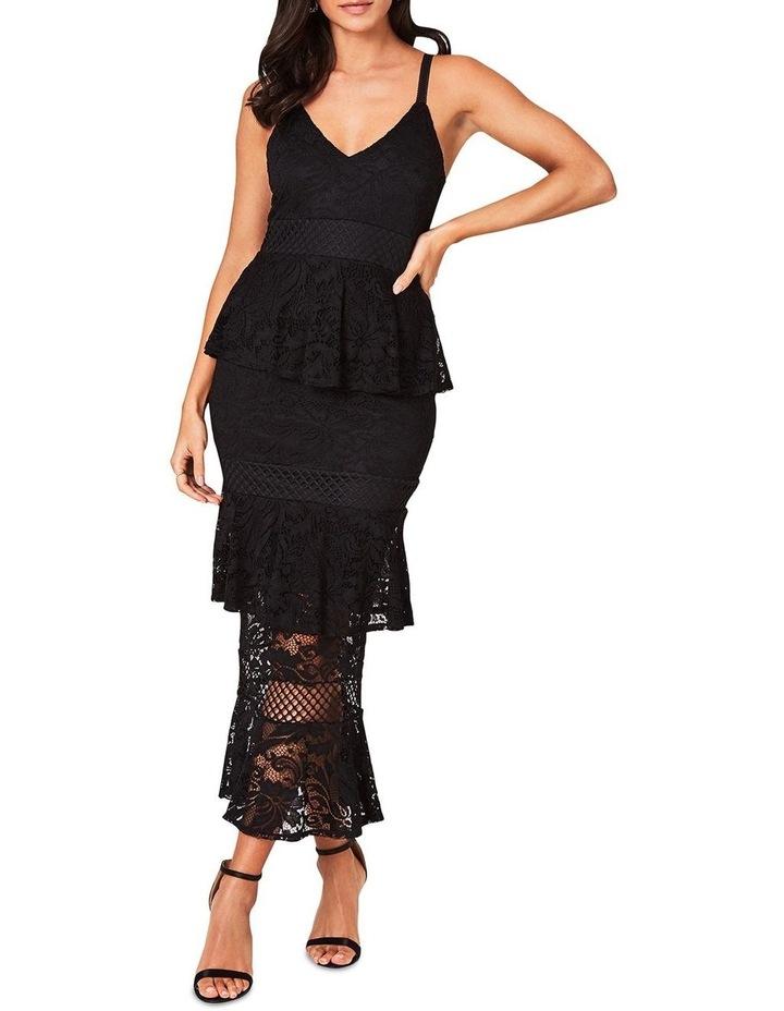 Black Lace Tiered Midi Dress image 1