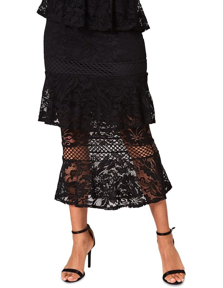 Black Lace Tiered Midi Dress image 2