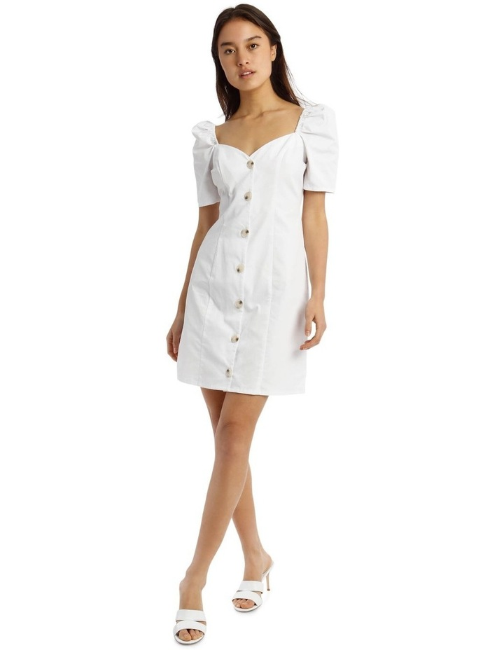 White Poplin Milkmaid Button-Through Mini Dress image 1