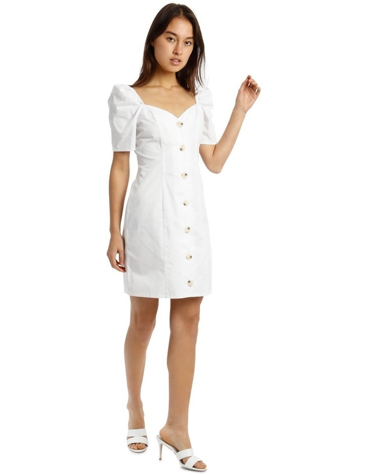 White Poplin Milkmaid Button-Through Mini Dress image 2