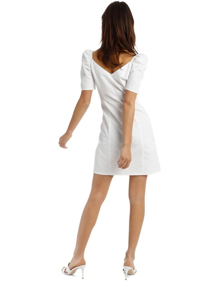 White Poplin Milkmaid Button-Through Mini Dress image 3