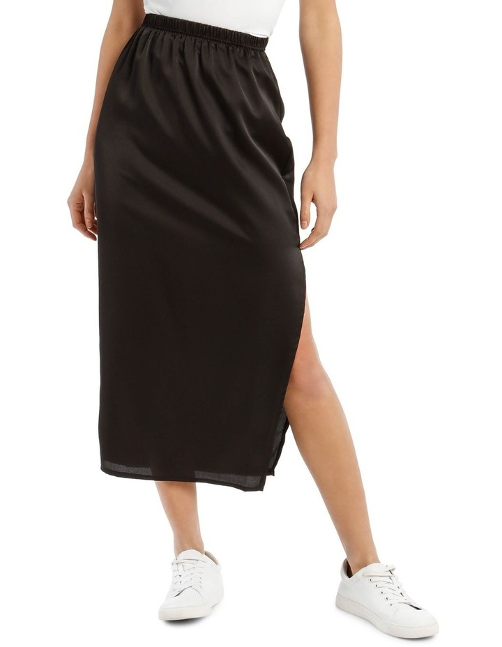 Black Satin Midi Slip Skirt image 1