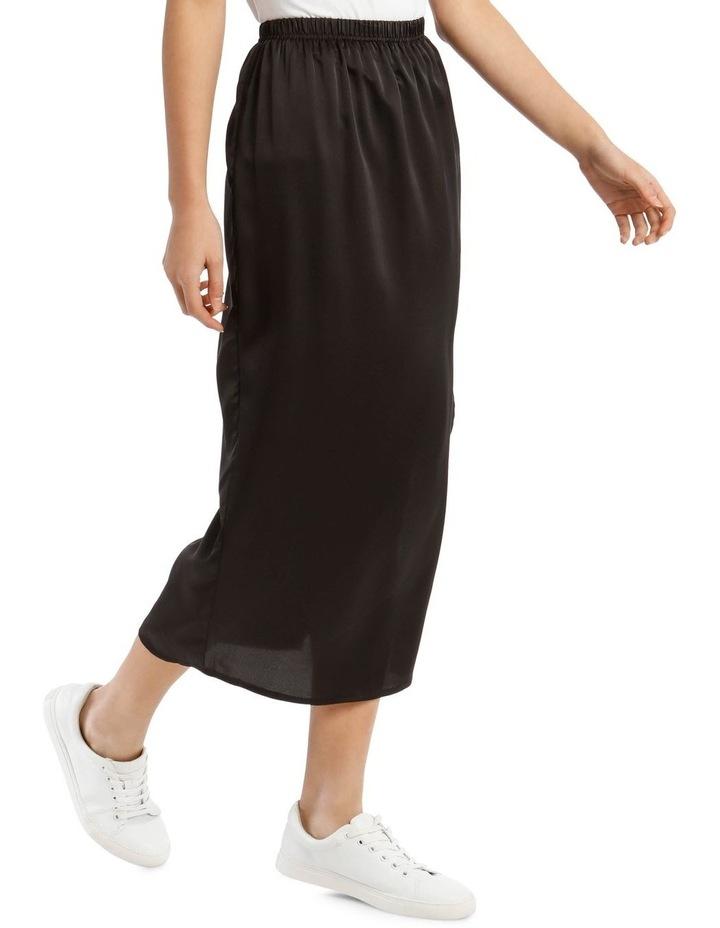 Black Satin Midi Slip Skirt image 2