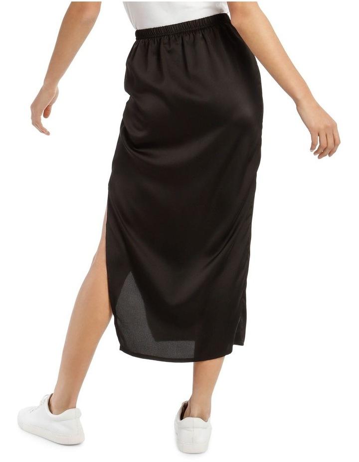 Black Satin Midi Slip Skirt image 3