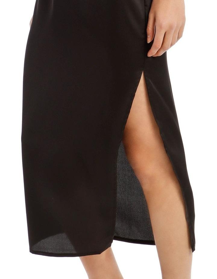 Black Satin Midi Slip Skirt image 4