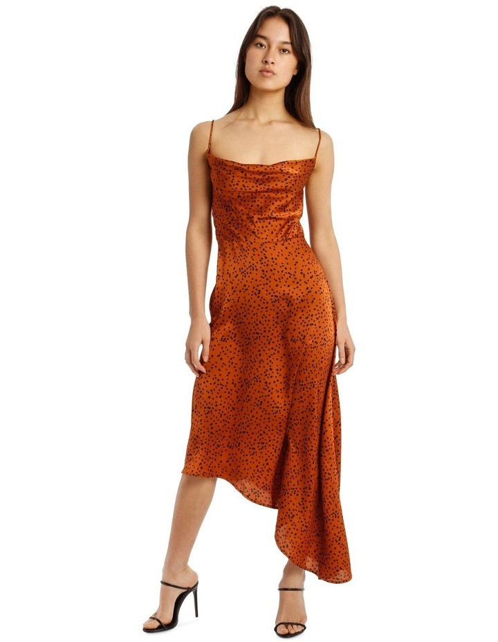 Spot Print Cowl Neck Aysmmetric Midi Dress image 4