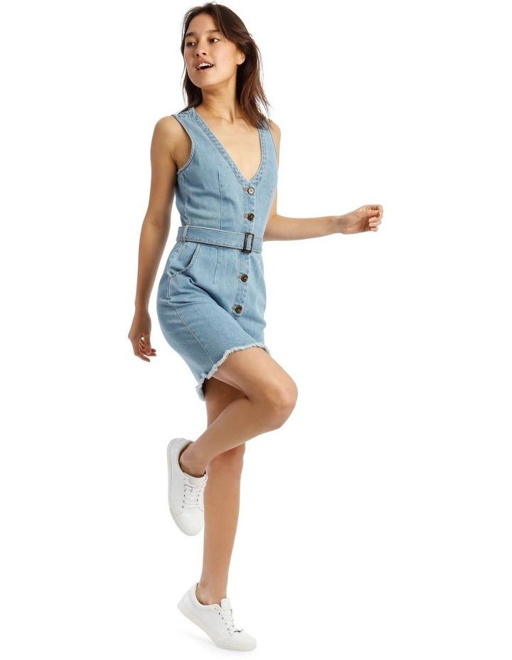 Blue Denim Plunge Dress with Belted Waist image 2