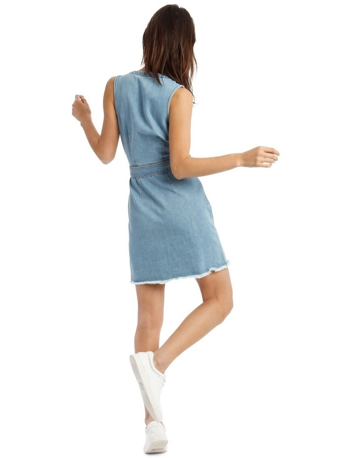 Blue Denim Plunge Dress with Belted Waist image 3