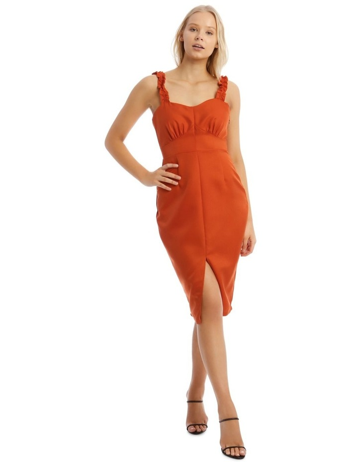 Button Detail Frill Strap Midi Dress Orange image 1