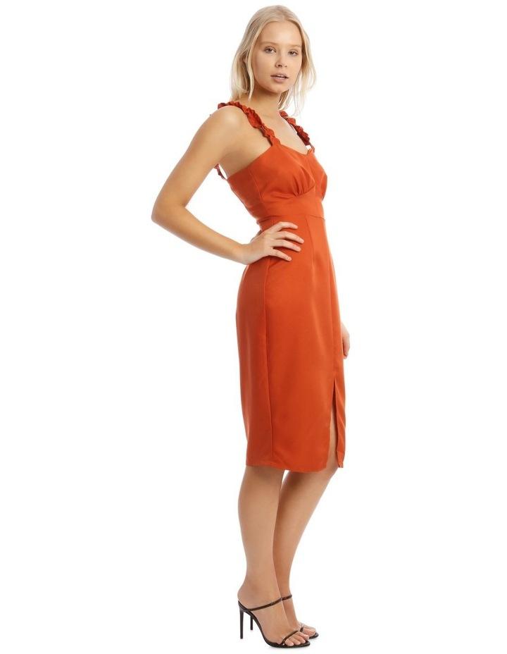 Button Detail Frill Strap Midi Dress Orange image 2
