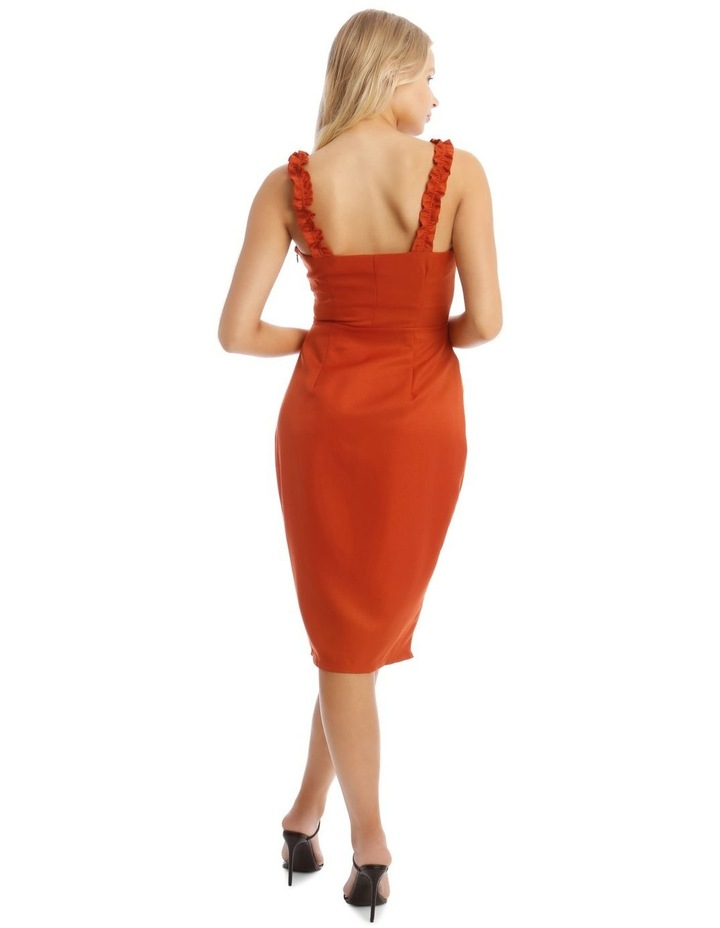 Button Detail Frill Strap Midi Dress Orange image 3