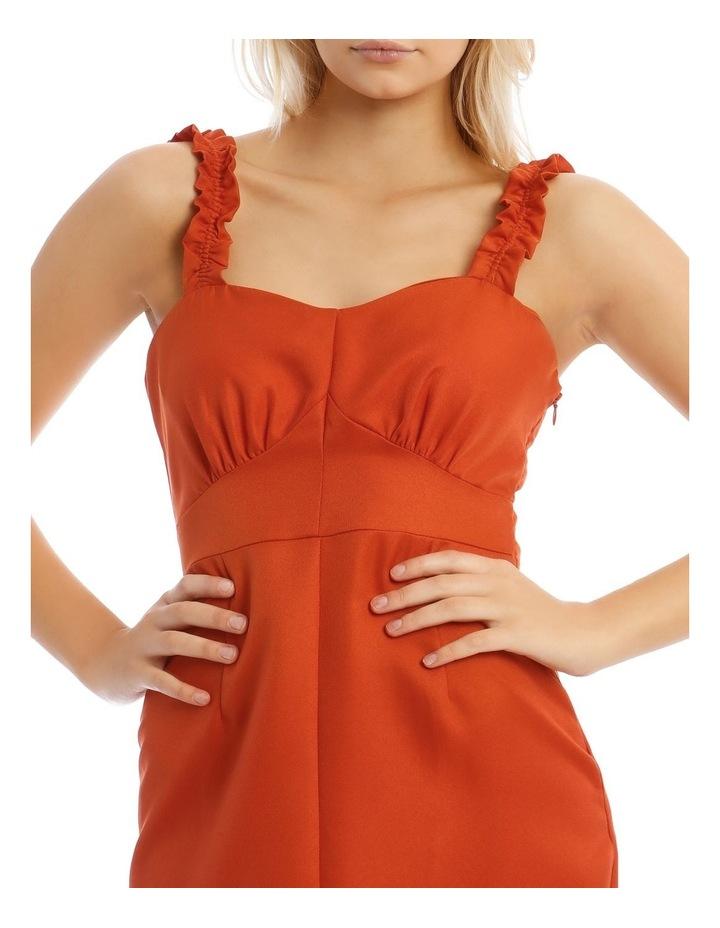Button Detail Frill Strap Midi Dress Orange image 4