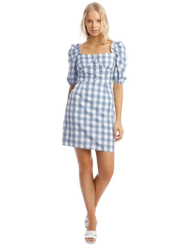 Check Square Neck Frill Dress Blue image 1