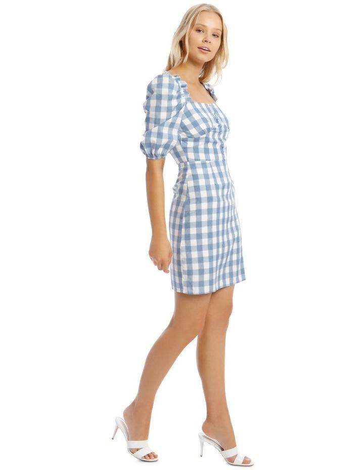 Check Square Neck Frill Dress Blue image 2