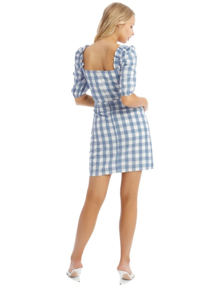 Check Square Neck Frill Dress Blue image 3