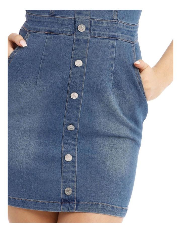 Button Detail Stretch Denim Mini Dress image 4