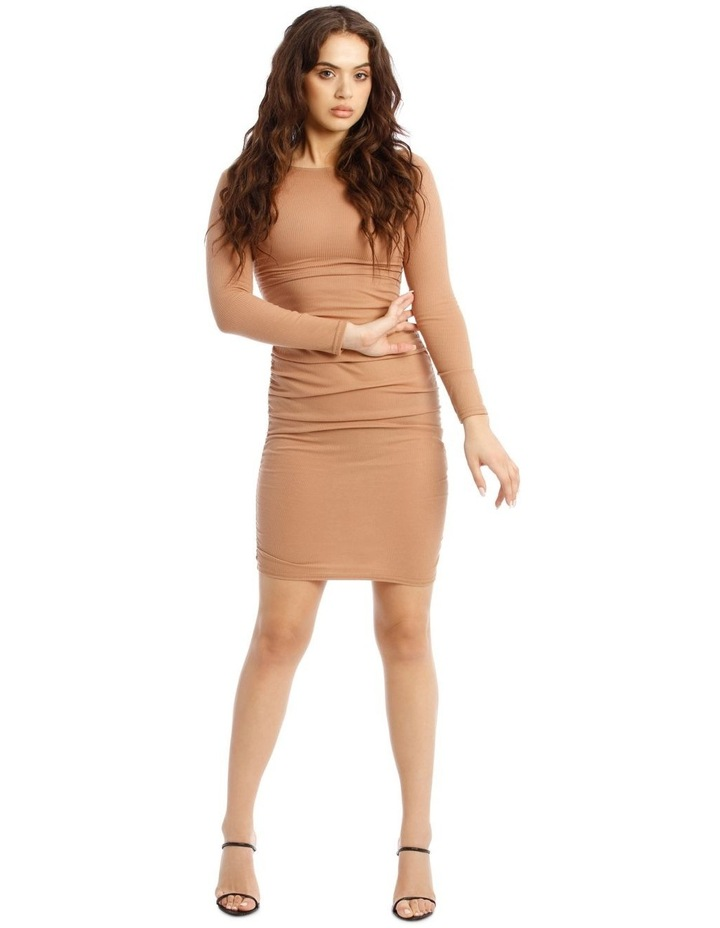 Ribbed Rouched Side Midi Dress image 1