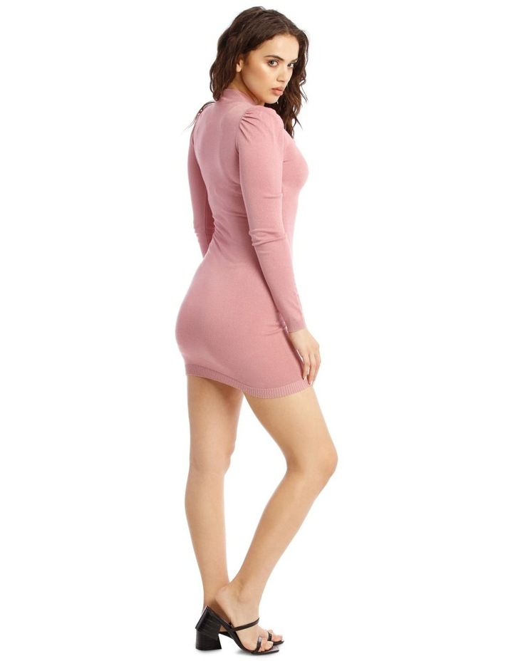 Knitted Puff Sleeve Mini Dress image 2