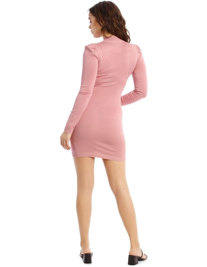 Knitted Puff Sleeve Mini Dress image 3