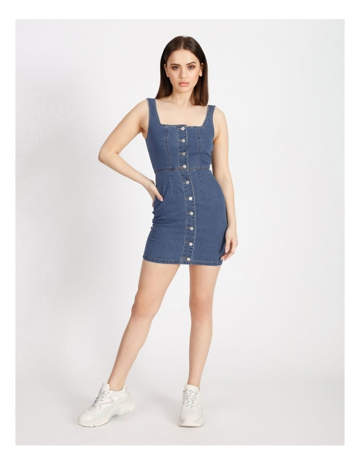 Square Neck Button Through Denim Dress image 1