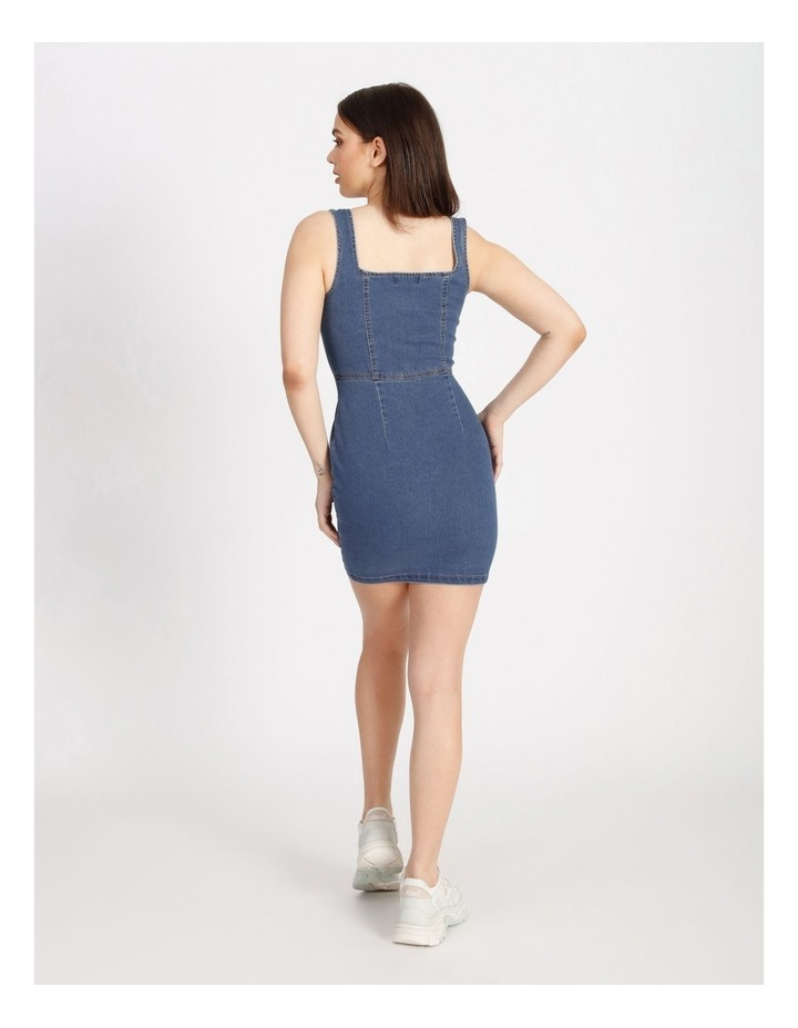Square Neck Button Through Denim Dress image 3