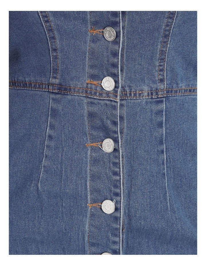 Square Neck Button Through Denim Dress image 5