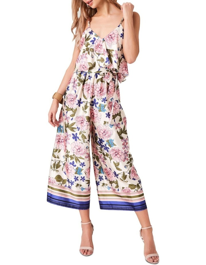 STRAPPY BORDER FLORAL PRINTED JUMPSUIT WITH SELF TIE image 1