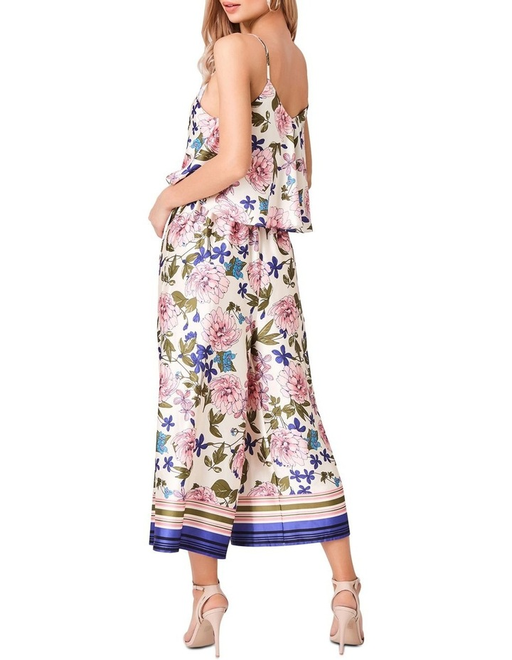 STRAPPY BORDER FLORAL PRINTED JUMPSUIT WITH SELF TIE image 2