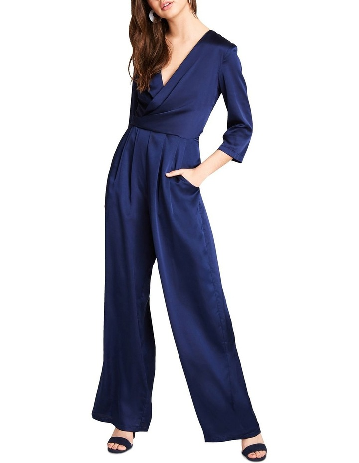 NAVY SATIN FEEL LONG LEG JUMPSUIT WITH WRAP FRONT BUST. image 1