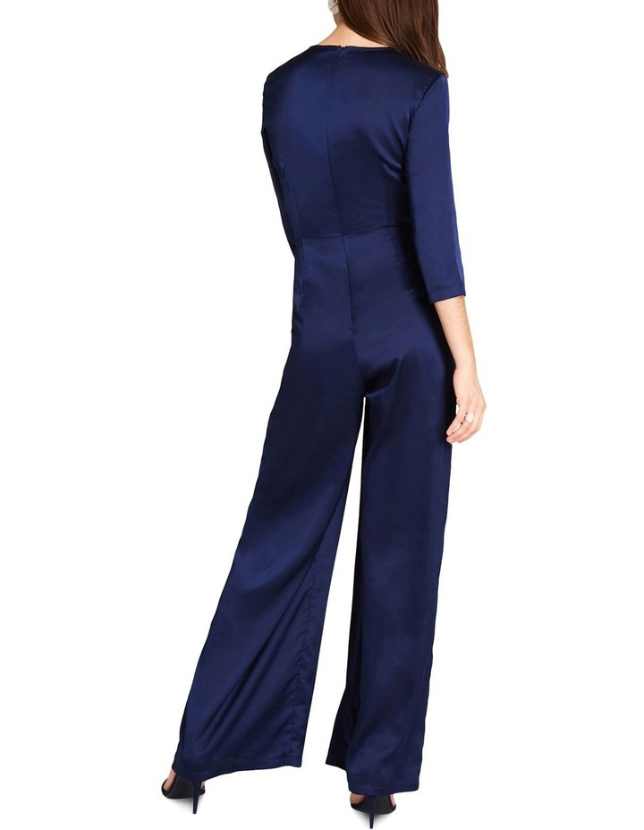 NAVY SATIN FEEL LONG LEG JUMPSUIT WITH WRAP FRONT BUST. image 2