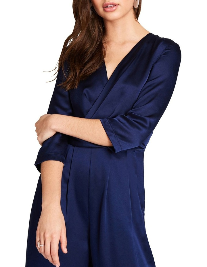 NAVY SATIN FEEL LONG LEG JUMPSUIT WITH WRAP FRONT BUST. image 3