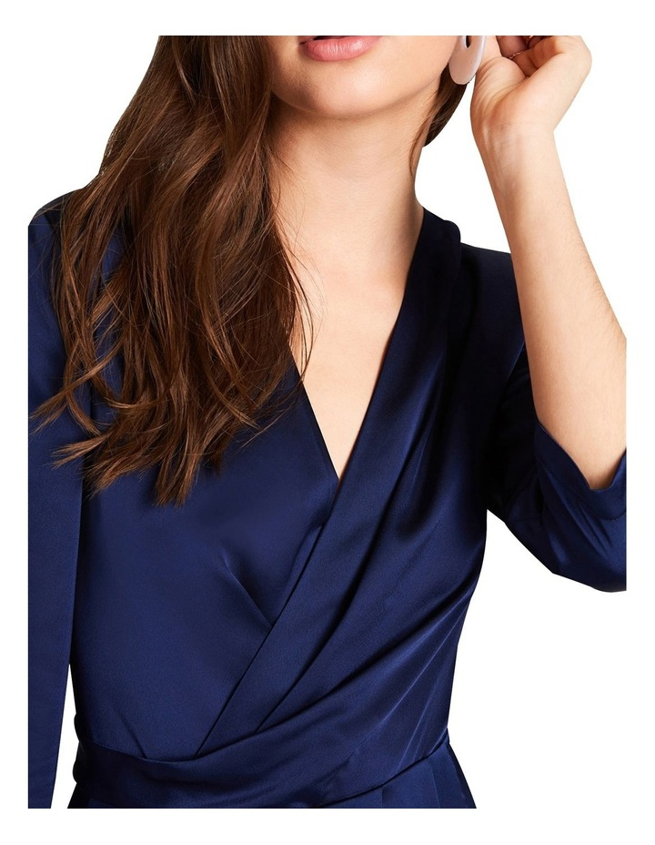 NAVY SATIN FEEL LONG LEG JUMPSUIT WITH WRAP FRONT BUST. image 5